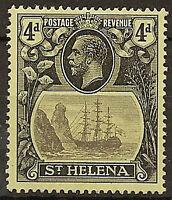ST HELENA 1922-27 4d BROKEN MAINMAST SG92a LHM CAT £275