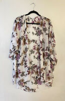Emory Park Ivory Floral Roses Flower Kimono Open Front Lightweight Cardigan XXL