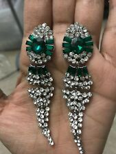 "3.25"" Green Emerald Silver Long Crystal Rhinestone Pageant Bridal Earrings"