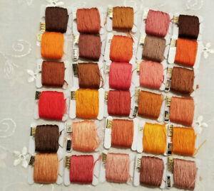 DMC Floss Lot 30 On Bobbins Orange /Brown