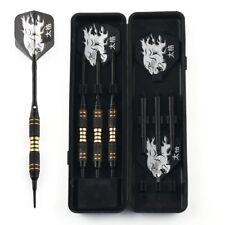 3x 18g Black Coated Solid BRASS BARREL Plastic Soft Tip Dart with Case & Flights