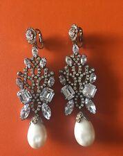 Very Rare 1960's Kenneth Jay Lane Pearl Crystal Chandelier Earrings