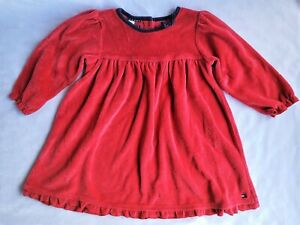 Tommy Hilfiger Dress Baby Toddler 12-18 Mo. Red Navy Blue Velour Winter Holiday