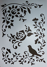 Plastic /PVC/Stencil/Multi/Floral/Corner/Border/Bird/Flower/Design/Painting/Art