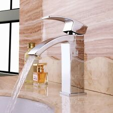 Bathroom Basin Waterfall Faucet Water Tap Single Hole Brass Chrome Contemporary