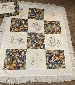 """New Embroidered Hand Quilted Crib Quilt With Matching Pillow Kittens 36"""" X 45"""""""