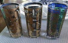 george briard 3 Glasses Gold And Blue Signed