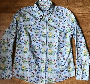 HAWES & CURTIS SEMI FITTED SHIRT UK 14 COTTON FLORAL BLUE WHITE YELLOW GREEN VGC