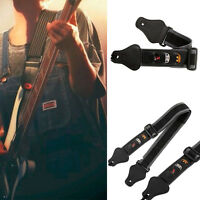 Portable Electric Acoustic Guitar Bass Strap Nylon With 3Pick Holder Leather End