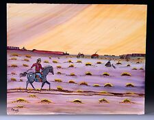 Navajo Style Painting by P Shorty - Man, Appaloosa Pony, Hogan, Shiprock, Mesas