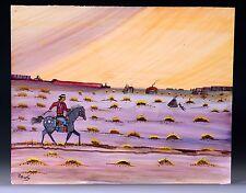 Navajo Style Painting by P Shorty - Man, Appaloosa Pony, Hogan, Shiprock, Mesas