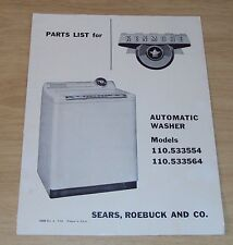 """1954 Parts List~""""KENMORE Automatic WASHER"""" Sears Roebuck~"""