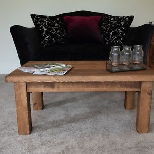 Solid Wood Rustic Coffee Table with Chunky Legs