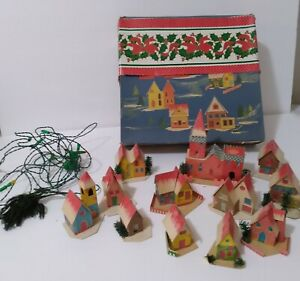 VIntage Christmas Putz Cardboard Village 12 Houses Church Lights Made in Italy