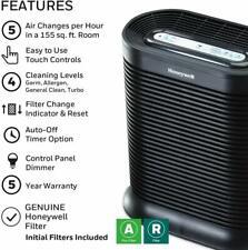 Air Purifier HEPA Filter Honeywell True with Allergen Remover Black Medium Room