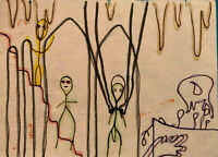 Original Drawing by Jay Snelling. Outsider Art Brut. Figures, Sketch, Cave