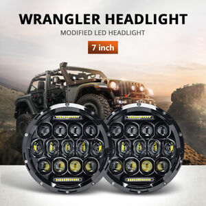 "2X 7"" LED Headlights Hi/Lo Beam DRL Headlamp for Jeep JK TJ Suzuki Samurai SJ410"
