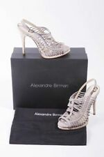 Alexandre Birman dove light gray suede strappy cork platform sandals 38 7 7.5