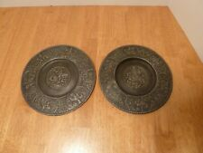 Vintage, Commemorative Set of 2, King Ferdinand Iii Hammered Pewter Wall Plates