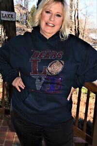 BEARS LOVE football hooded Sweatshirt size large