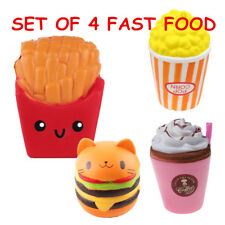 4 x Fast Food Jumbo Slow Rising Squishies Squishy Squeeze Toy Stress Reliever