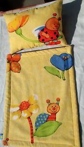 Puppenwagengarnitur, Puppenbettkissen, 2-teilig mit Decke u. Kissen, handmade,