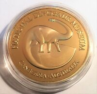 """""""Dinosaur Museum"""" Canberra, 1 oz Coin Finished in 999 24k Gold. T-Rex, Gift.."""