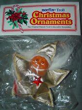 "Troll Doll 2 1/2"" Norfin Dam Christmas Ornament Red Star White Hair Brown Eyes"