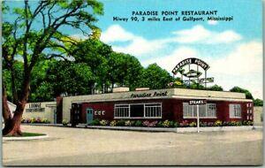 1940s Gulfport Mississippi Postcard PARADISE POINT RESTAURANT Hwy 90 KROPP Linen