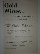 1893 GOLD MINES for sale Arnold A Bowhay Denver CO Ad