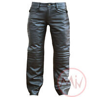 Men's Genuine Leather Black Front Knee Padded Biker Jeans Pant Soft Leather NEW