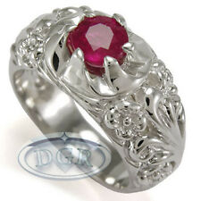 Men's 18k White Gold Hand Made Rococo Design Genuine Natural Ruby ring 1.65cwt.