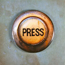 "Vintage Press Button 2 1/4"" Fridge Magnet Steampunk Rusted Industrial Elevator"