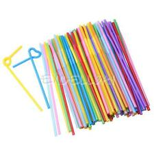 100 Pcs Flexible Plastic Bendy Party Disposable Drinking Straws Mixed Colours