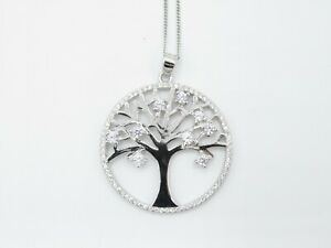 Tree of Life Round Sterling Silver Pendant Necklace with Chain & White CZ Stones