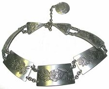 New listing Floral Silver Tone Metal Engraved Belt Small-Medium