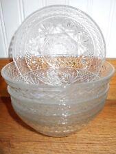 Vintage Entertaining, 5 Pressed Glass Salad / Dessert Bowls