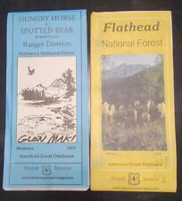Vtg '97 '98 US Forest Service Topo Map and Guide Montana Flathead,  Hungry Horse
