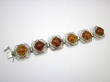 Schönes Art Deco Bernstein Armband 835 Silber , vintage Schmuck amber bracelet