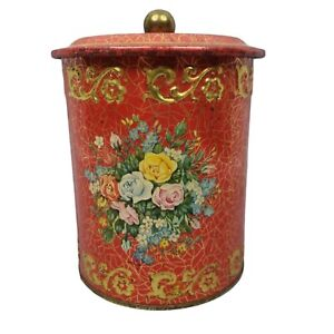 Vtg Embossed Red Gold Floral Decorative Metal Tin Box Container Western Germany