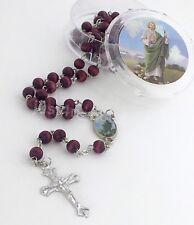 Rosary Wood Jesus Crucifix Cross CATHOLIC Rosario San Judas Cruz Necklace StJude