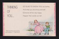 Thinking of You boy and girl roller skates #J2301 sunshine line vintage POSTCARD