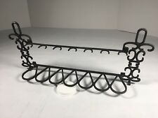 "Estate Pipe Stand Rack Holder 7 Spaces Metal Made In Italy 15"" Long Black"