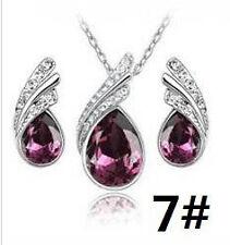 SALE Purple Crystal Water Drop, Silver Pendant/Necklace/Earring Set