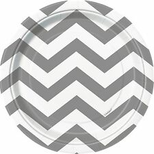 "8 Silver White Chevron ZigZag Birthday Party Small 7"" Paper Plates"