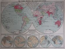 1935 MAP ~ THE WORLD LEAGUE OF NATIONS NORTH AMERICA AUSTRALIA INDIAN EMPIRE