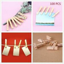 50/100Pcs DIY Wooden Clothes Photo Paper Pegs Clothespin Cards Mini Craft Clips