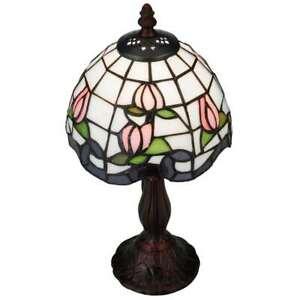 Meyda Lighting 14'H Roseborder Mini Lamp, Ca Pink Lt Blue - 139081