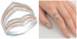 Sterling Silver 925 POINTED V-SHAPE DESIGN ROSE GOLD PLATED RING 19MM SIZES 5-10