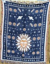 AFRICAN STYLE BLUE YELLOW THROW RUG SUN STARS REVERSIBLE BED OR PICNIC BLANKET